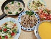 大根の豚肉巻きやコーンスープなどの手料理