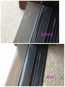 窓サッシの掃除前と掃除後