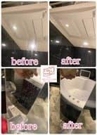 お風呂場の鏡の掃除前と掃除後